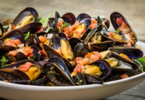 PEI Mussels with Fresh Bruschetta